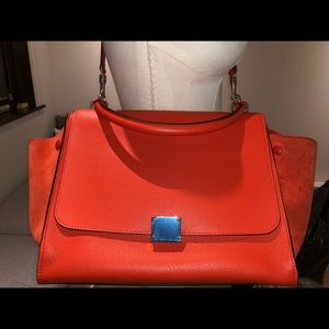 Celine Medium Trapeze Bag in Vermillion